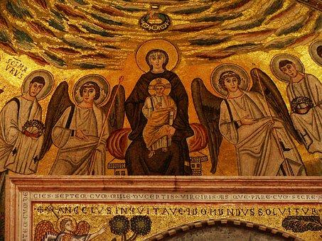 Mosaic, Virgin Mary, Baby Jesus, Angels, Saint