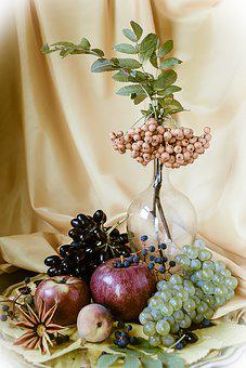 Still Life, Grapes, Apples, Fruit, Berry, Composition