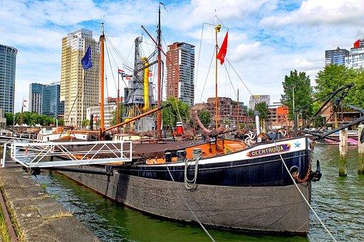 Barge, Houseboat, Boat, Ship, Harbour, Port, Rotterdam