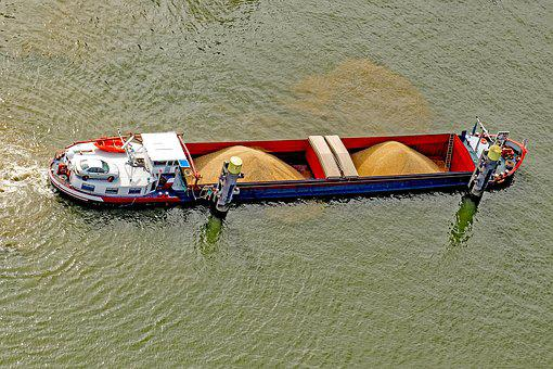 Boat, Barge, Ship, Transportation, Aerial View, Canal