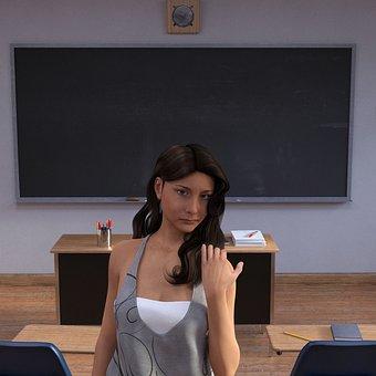 School, Teacher, Board, Class Room, Woman
