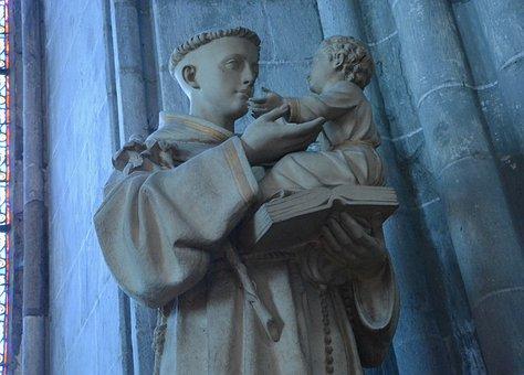 Statue, Saint Anthony Of Padua, Door Small Child