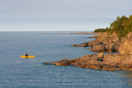 Kayak, Coast, Rocks, Shore, Lake, Cliff, Coastline, Day