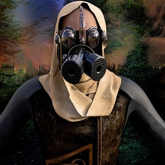 Man, Mask, Gas Mask, End Time, Background, Portrait