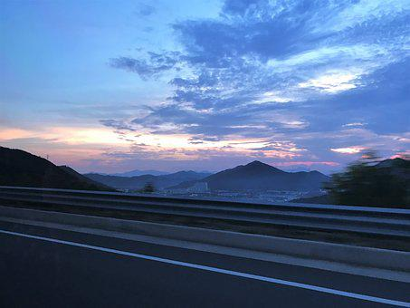Glow, Mountain, Drive, Sunset, Korea, Blue, Travel
