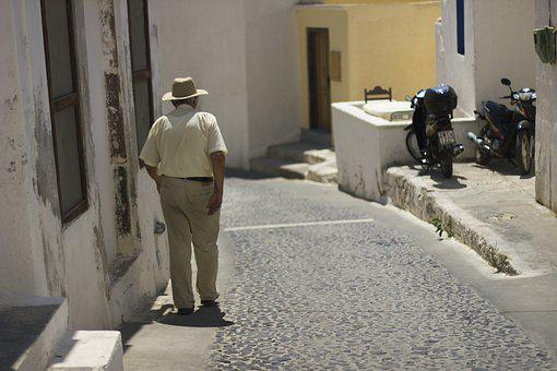 Mr, Wholesale, Grandfather, People, Greece, Santorini