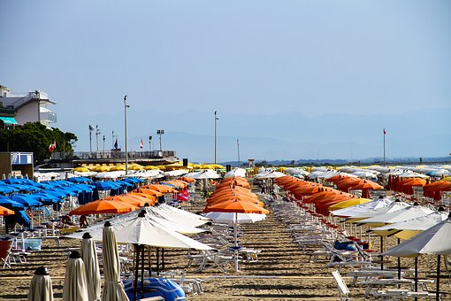 Parasol, Sun Loungers, Beach, Sand, Sea, Sun, Sunny