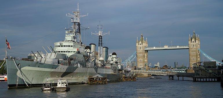 London, Thames, Hms Belfast, Tower, Bridge, Famous