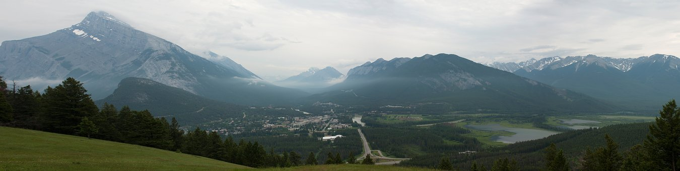 Road, Mountains, Panorama, Highway, Town, Landscape