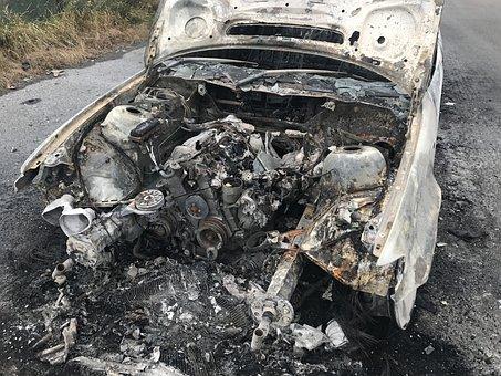 Old Car, Frack, Vehicle Burnt Out Fire Damage, Bmw