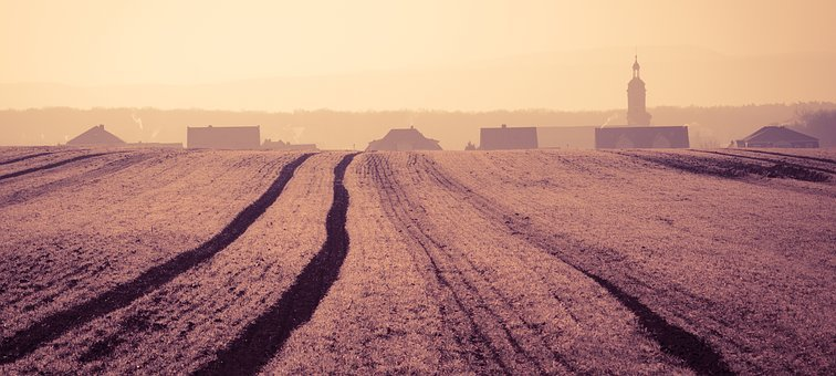 Panorama, Nature, Field, Arable, Traces, Tractor