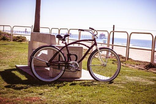 Bike, Beach, California, Water, Sea, Blue, Rotation