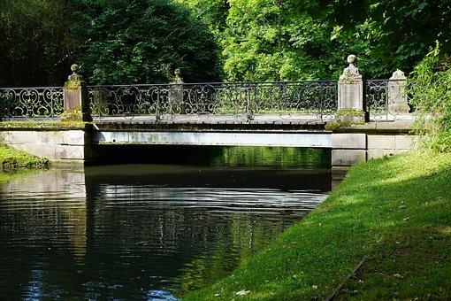 Bridge, Park, Castle, Danube, River, Water