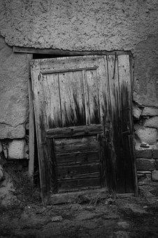 Door, Black, White, House, Entrance, Architecture, Wood