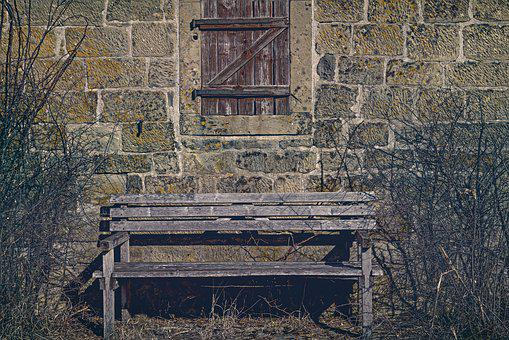 Bank, Wooden Bench, Wooden Windows, Facade, Old, Window