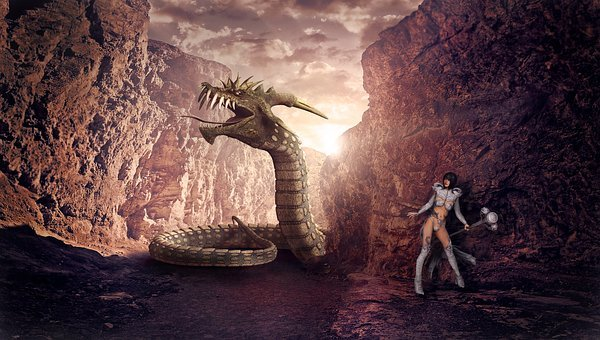 Fantasy, Dragons, Woman, Mythical Creatures, Monster