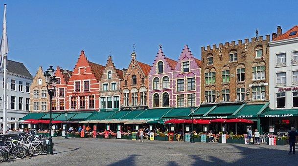 Bruges, Large Market, Gabled Houses, Restaurant