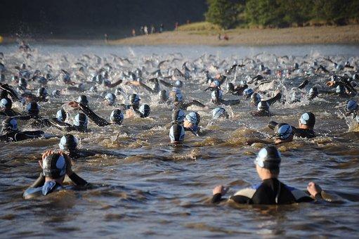 Open Water Swim, Mass Swim, Ironman, Swimming, Lake