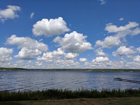 Lake Chautauqua, Fluffy Clouds, Blue Sky Over Water