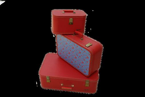 Vintage Luggage, Retro Luggage, Red Luggage, Luggage