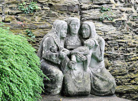 Stone Monument, Mother Child, Figure, Sculpture, Jesus