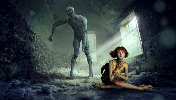 Fantasy, Space, Zombie, Girl, Composing, Mystical