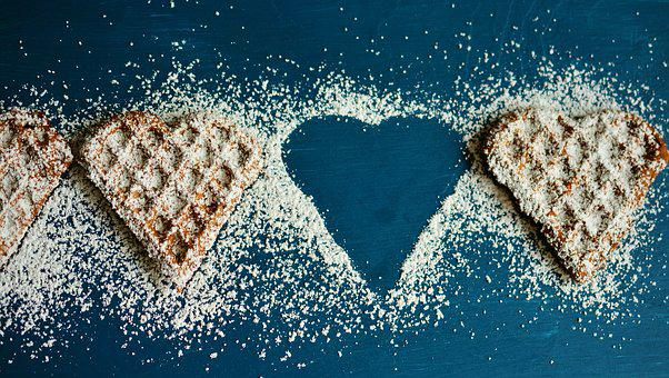 Waffle Heart, Waffles, Icing Sugar, Silhouette