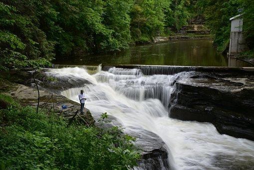 River, Water Flow, Blur, Background
