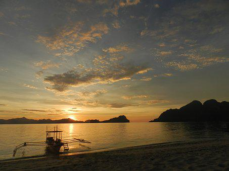 Sunset, Sunrise, Philippines, Island, Sea, Boat, Beach