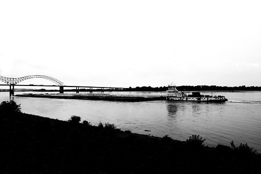 River, Ship, Container, Bridge, Hard, White