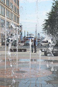Fountain, Water, Boston, Water Jet, Basin, City, Thirst