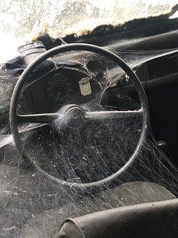 Vw Old, Kübelwagen, Steering Wheel, Spider Webs, Cult