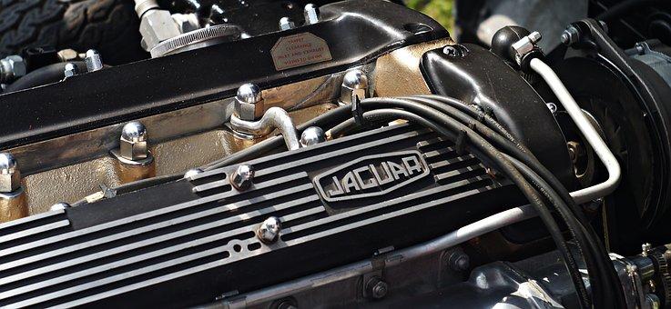 Jaguar, Engine, Old, Veteran, Car