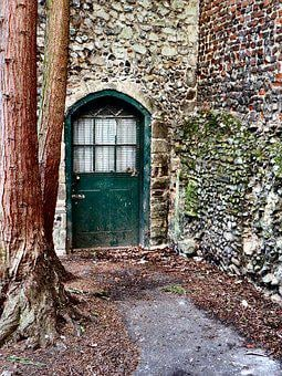 Green Door, Old, Door, House, American, Architecture