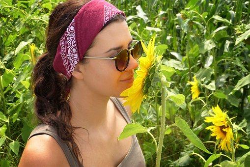 Girl, Sunflower, Field, Summer, Heat, Sun, Nature