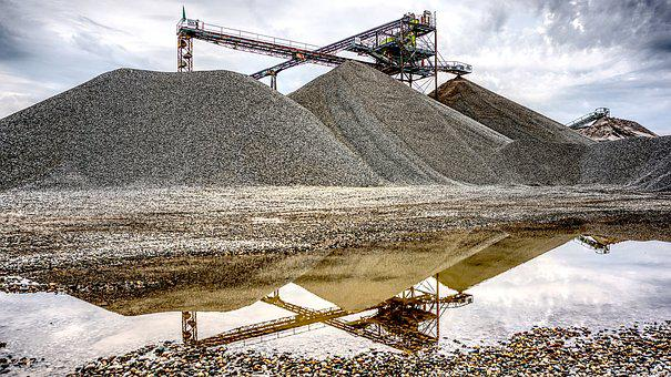 Kieswerk, Open Pit Mining, Raw Materials, Mirroring