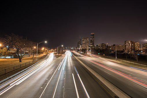 Chicago, City, Lakeshore Drive, Night, Downtown
