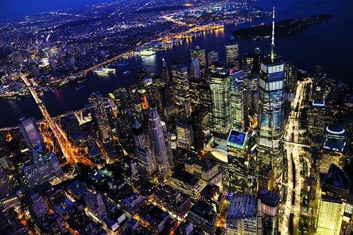 New, York, City, Manhattan, Cityscape, Night
