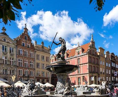Gdańsk, Poland, Neptunbrunnen, Baltic Sea, Market