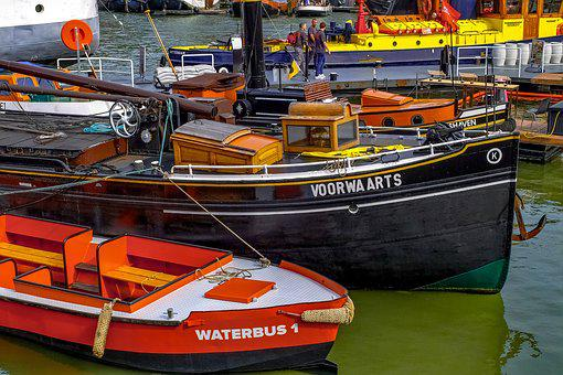 Boat, Barge, Ship, Waterbus, Port, Harbor, Rotterdam