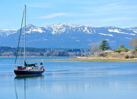 Boat, Ocean, Sailboat, Comox, British Columbia, Scene