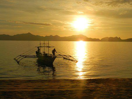 Sunset, Sunrise, Philippines, Island, Boat, Sea, Beach