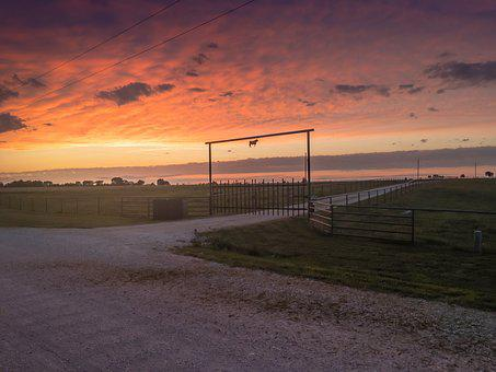 Ranch, Sunset, Farm, Landscape, Rural, Country