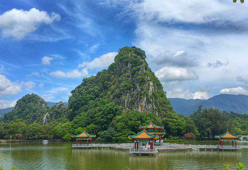 China, Zhaoqing, Seven Star Crags, Lake, Pavilion