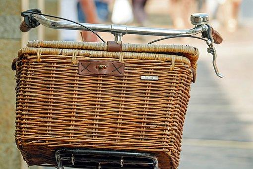 Bicycle Basket, Basket, Wicker Basket, Radkorb, Brown