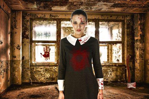 Woman, Female, Beauty, Model, Horror, Macabre, Blood