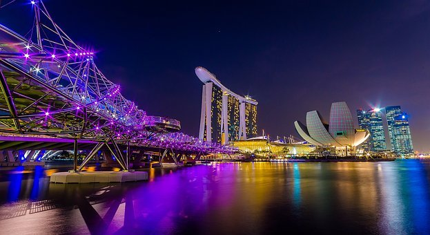 Singapore, Marina Bay, Figure Night, City Mosaic