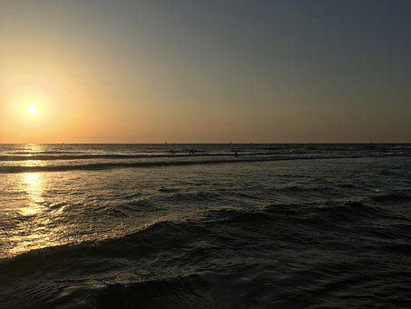 Sunset, Beach, Israel, Summer, Sea, Ocean, Coast