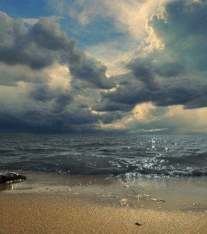Sea, Clouds, Waves, Sand, Summer, Fairytale, Storm