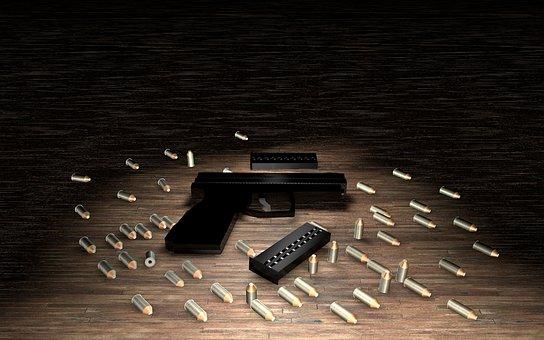 Weapon, Cartridges, Pistol, Ammunition, Floor, Hand Gun